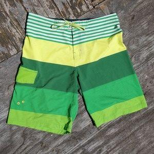 Green Striped OP Boardshorts Size 36